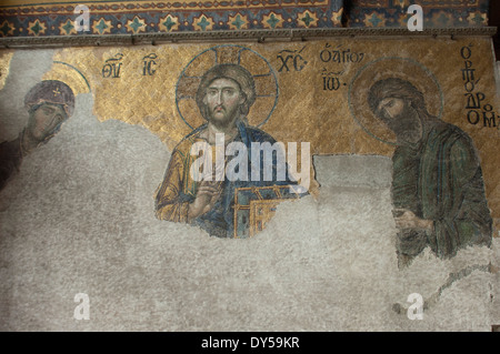 Byzantine mosaic of Jesus in the Hagia Sophia, Istanbul. Digital photograph - Stock Photo