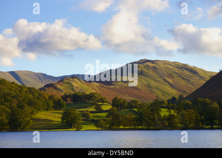 Lake scene with fields, trees and hills. Beda Head, Sandwick Bay, The Lake District, England. - Stock Photo