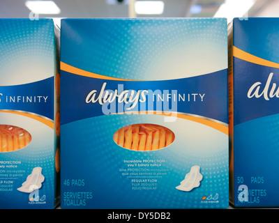 Always Feminine Hygiene, CVS Drugstore, USA Stock Photo