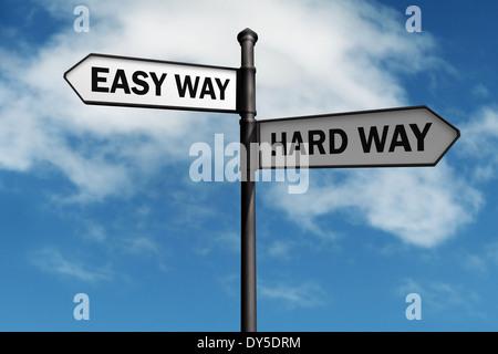 Easy way and hard way road sign - Stock Photo
