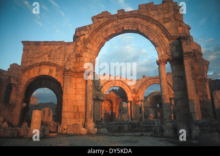 ruins of 5th century Church of Saint Simeon Stylites, oldest surviving Byzantine church, near Aleppo, Syria - Stock Photo