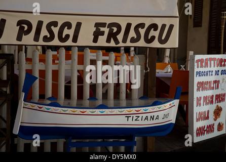tradizional sicilian fish restaurant - Stock Photo