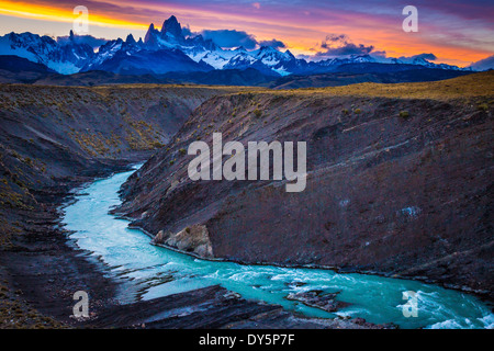 Mount Fitz Roy is a mountain located near El Chaltén village, Patagonia, Argentina - Stock Photo