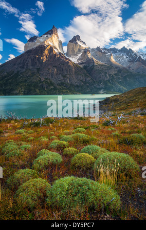 Los Cuernos towering above Lago Nordenskjold in Torres del Paine, Chilean part of Patagonia - Stock Photo