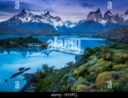 Lago Pehoe in Torres del Paine National Park, Chilean part of Patagonia - Stock Photo