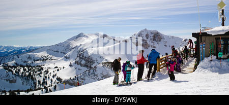 Skiers at the top of Jackson Hole Mountain Resort, Jackson, Wyoming, USA - Stock Photo