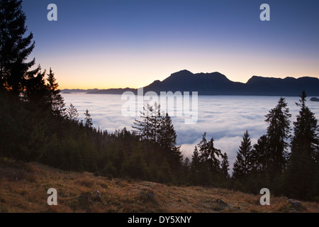 View over the fog in the valley onto Hoher Goell and Hohes Brett, Berchtesgaden region, Berchtesgaden National Park, - Stock Photo