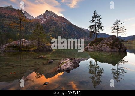 View over lake Hintersee onto Hochkalter in the evening, Ramsau, Berchtesgaden region, Berchtesgaden National Park, - Stock Photo