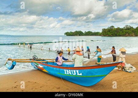 Outrigger fishing boat and people pulling net in by hand to shore near Batu Karas, Pangandaran, West Java, Java, - Stock Photo