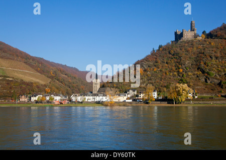Maus castle above St Goarshausen-Wellmich, Rhine river, Rhineland-Palatinate, Germany - Stock Photo