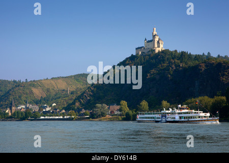 Paddle wheel steamer Goethe at the Rhine at Marksburg castle, Unesco World Cultural Heritage, near Braubach, Rhine - Stock Photo
