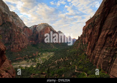 View down Zion Canyon from trail to Angels Landing at dawn, Zion National Park, Utah, United States of America, - Stock Photo