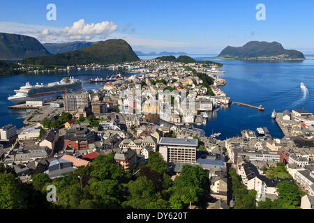 View from Aksla hill over Alesund, More og Romsdal, Norway, Scandinavia, Europe - Stock Photo