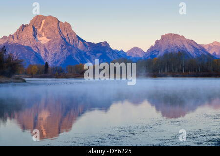 Dawn mist, Mount Moran, Oxbow Bend, Snake River, Grand Teton National Park, Wyoming, United States of America, North - Stock Photo