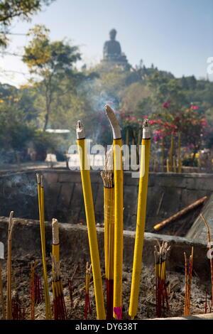 Burning incense, Big Buddha, Po Lin Monastery, Ngong Ping, Lantau Island, Hong Kong, China, Asia - Stock Photo