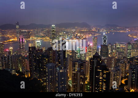 View over Hong Kong from The Peak, Hong Kong, China, Asia - Stock Photo