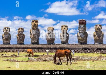 Horses grazing at the restored ceremonial site of Ahu Tongariki on Easter Island (Isla de Pascua) (Rapa Nui), UNESCO - Stock Photo