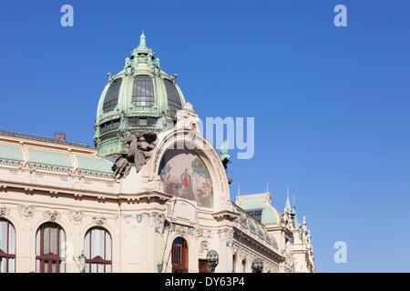 Dome of Municipal House Obecni Dum, Art Nouveau Style, Republic Square, Prague, Bohemia, Czech Republic, Europe - Stock Photo