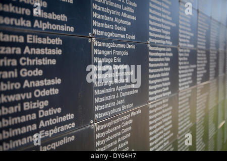 Kigali, Rwanda. 6th April 2014. A wall of remembrance outside The Kigali Genocide Memorial Centre with some of the - Stock Photo