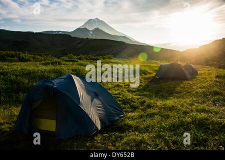 Camping below Vilyuchinsk volcano, Kamchatka, Russia, Eurasia - Stock Photo