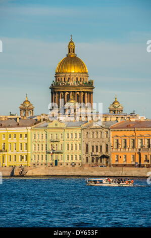 City center of St. Petersburg from the River Neva at sunset with the St. Isaac cathedral in the background, Russia, - Stock Photo