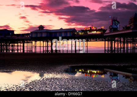 blackpool pier at sunset - Stock Photo