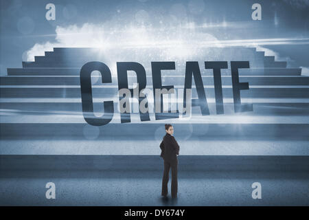 Create against steps against blue sky - Stock Photo