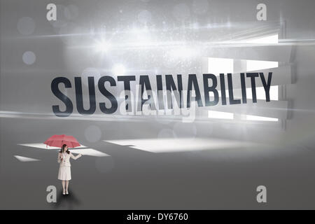 Sustainability against digitally generated room with bordered up window - Stock Photo