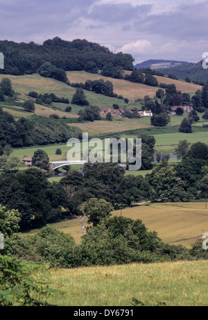Wales. Bigsweir Bridge from the Offa's Dyke Footpath. England in the foreground, Wales in the distance. - Stock Photo