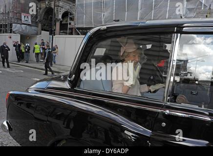 London, 8 April 2014, Sabina Higgins wife of Irish President Michael D Higgins visits the Irish Embassy accompanied - Stock Photo