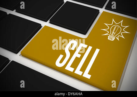 Sell on black keyboard with yellow key - Stock Photo