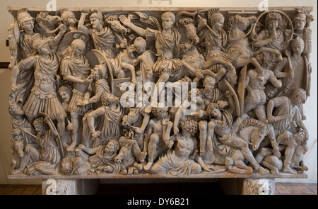 Ludovisi Battle sarcophagus, National Roman Museum, Palazzo Altemps, Rome, Italy - Stock Photo