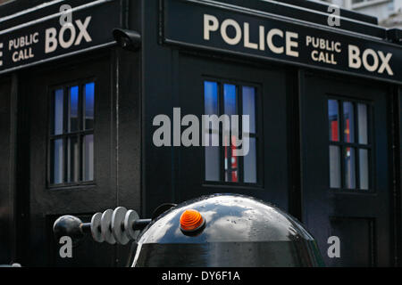 Boscombe, UK . 08th Apr, 2014. BOSCOMBE'S   long-awaited police box 'tardis' is officially unveiled to the public - Stock Photo