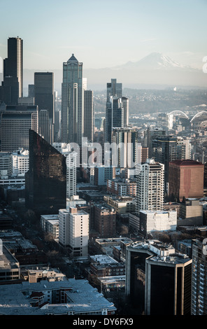 Aerial photo, seattle, USA, desaturated, mount rainier in the back ground, view of skyscrapers from the spaceneedle - Stock Photo