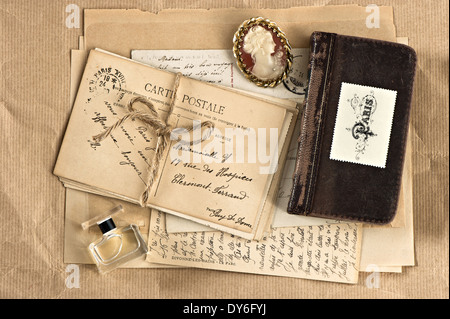 old french letters and postcards. vintage nostalgic background - Stock Photo