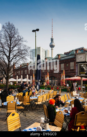 Hackescher Markt with S-Bahn station, TV tower, Berlin, Germany - Stock Photo