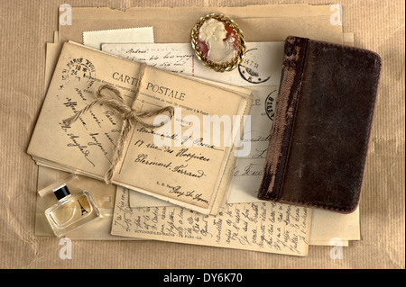 old french letters and postcards. vintage background - Stock Photo