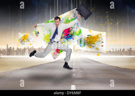 Composite image of cheerful jumping businessman with his suitcase - Stock Photo