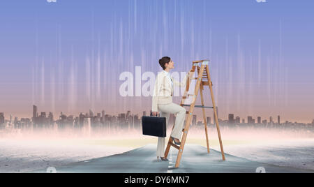 Composite image of businesswoman climbing career ladder with briefcase - Stock Photo