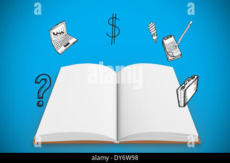 Composite image open book under doodles with business icons - Stock Photo