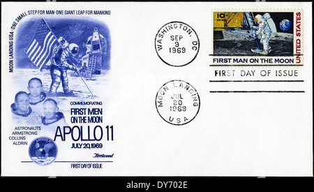 Commemorative first day cover USA postage stamps featuring First Man on the Moon Apollo 11 postmarked Moon Landing - Stock Photo