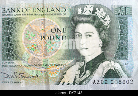 A used British £1 (one pound) note issued between9 February 1978 and 11 March 1988. - Stock Photo
