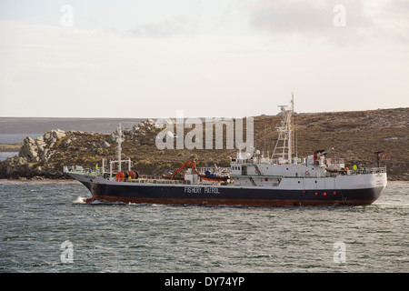 A Fisheries Patrol vessel leaves Port Stanley in the Falkland Islands, to patrol the territorial warers for illegal - Stock Photo