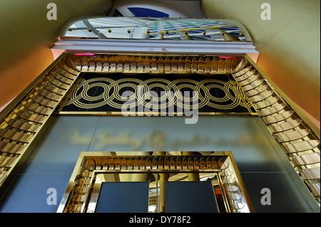 Golden decor around door frame at the Burj Al Arab world's first seven stars luxury hotel, United Arab Emirates. - Stock Photo