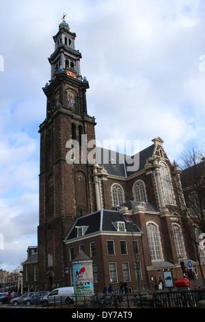 17th century Westerkerk with bell tower in  Amsterdam, the Netherlands at Westermarkt in Jordaan Quarter - Stock Photo