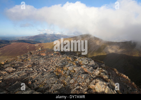 View at sunset from Hopegill Head, in the English Lake District. - Stock Photo