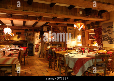 The Au P'tit Creux restaurant in Alpe d'Huez, France. - Stock Photo
