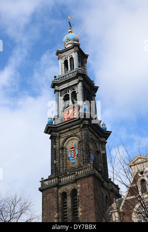 Top of the Westerkerk bell tower (Westertoren) at Westermarkt, Jordaan district in Amsterdam - Stock Photo