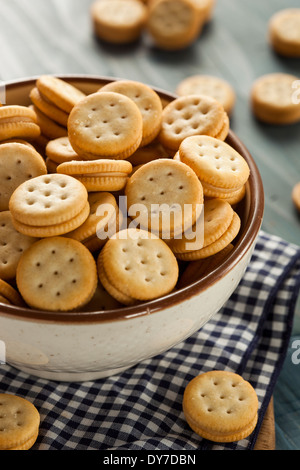 Healthy Peanut Butter Sandwich Crackers in a Bowl - Stock Photo