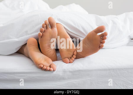 Couples feet sticking out from under duvet - Stock Photo